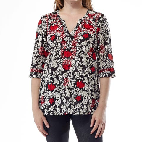 La Cera Women's 3/4 Sleeve Embroidered Top