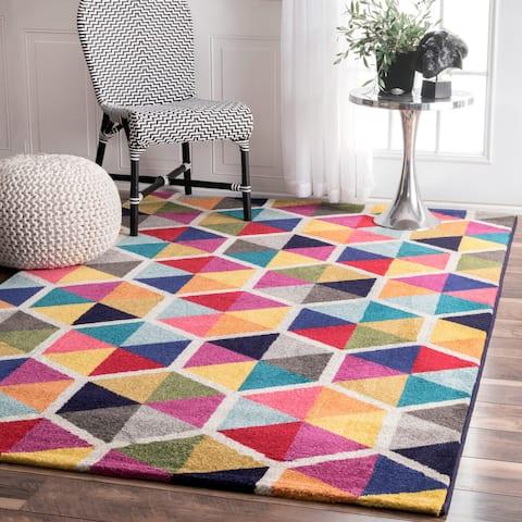 nuLOOM Multi-color Contemporary Triangle Mosaic Area Rug