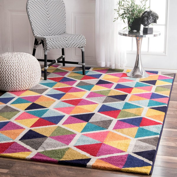 Purple Triangle Rug: Shop NuLOOM Contemporary Triangle Mosaic Multi Rug (5'x 8