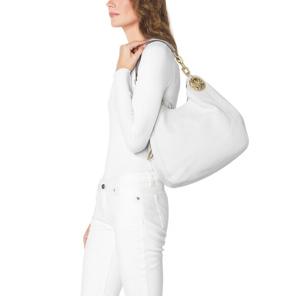 Shop Michael Kors Fulton Optic White Large Shoulder Tote Bag