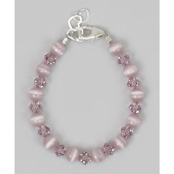 Crystal Dream Luxury Purple Cats Eye Beads With Crystals Infant Bracelet