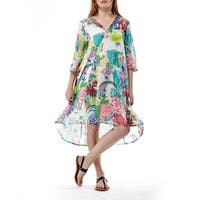 La Cera Women's Multicolored Cotton 3/4-sleeve Floral Pullover Dress