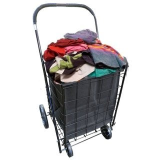 SCF Black Extra Large Folding Shopping Cart Basket 4-Wheel Jumbo Laundry Hamper for Easy Laundry