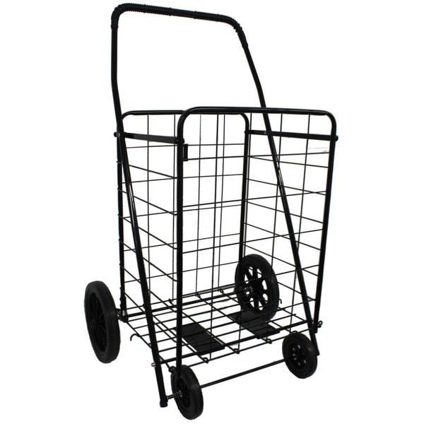 DLUX Model D801 Black Jumbo-sized Shopping Cart With Extra Basket