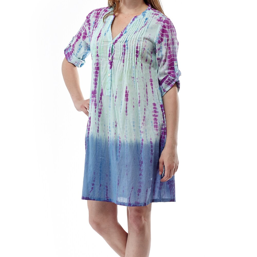 La Cera Womens Tye-dyed Plus-size Short Dress