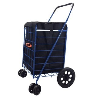 Blue Swivel Folding Shopping Cart with Liner