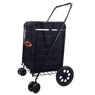 SCF Black Swivel Wheel Jumbo Easy Rotation Folding Shopping Cart