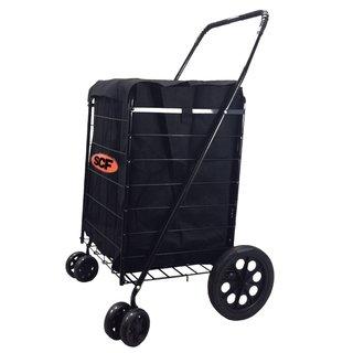 SCF Black Swivel Wheel Jumbo Easy Rotation Folding Shopping Cart