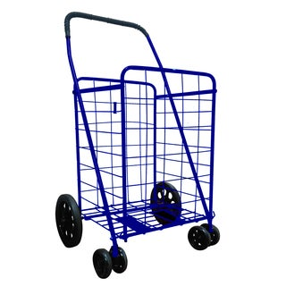 DLUX Blue 17.7-inches x 15.7-inches x 23.6-inches Large Folding Shopping Cart with Swivel Wheel