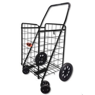 SCF Black Jumbo 360-degree Rotation Swivel-wheel Folding Shopping Cart With Free Cargo Net