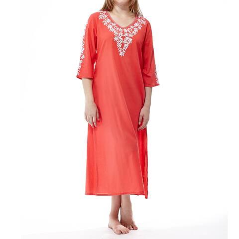 La Cera Women's Coral Cotton 3/4-sleeve Embroidered Caftan
