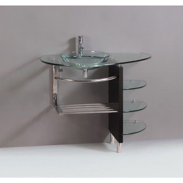 Vessel Vanity Sink Combo : ... Vessel Sink Bathroom Vanity Combo with Wood Stand and Glass Shelves