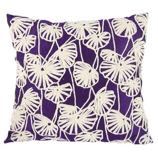 Purple 100-percent Cotton 18-inches x 20-inches Embroidered Pillow