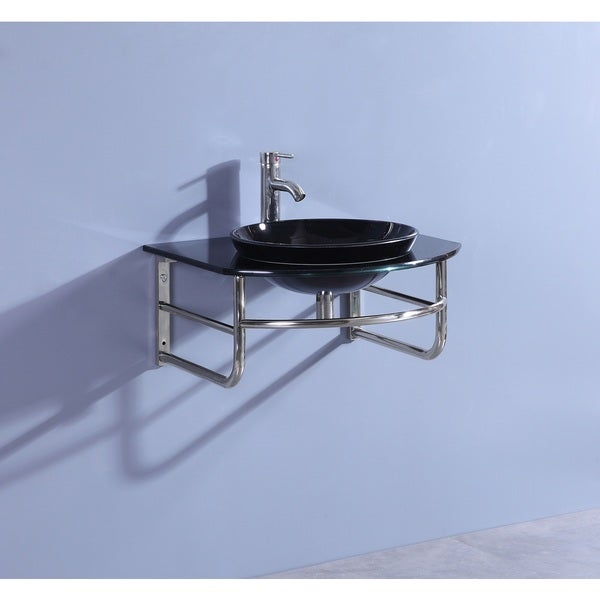 Shop Legion Furniture Black Glass/Stainless Steel 25-inch ...