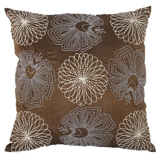 Brown Sateen Cotton Embroidered Square Pillow