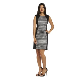 R&M Richards Women's Black and Silver Lace Cocktail Dress