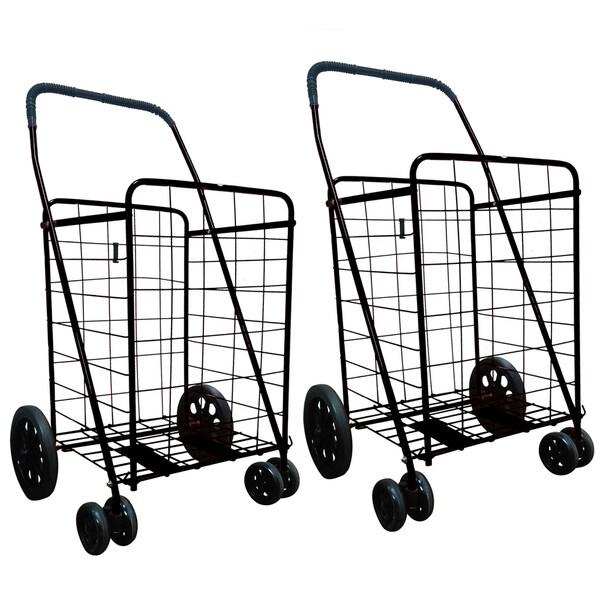 Shop Black Jumbo Folding Shopping Carts With Front Rotating Wheels