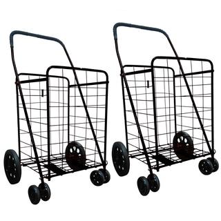 Black Jumbo Folding Shopping Carts with Front Rotating Wheels (Set of 2)