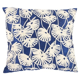 Blue/White Sateen Cotton 18-inch x 20-inch Embroidered Throw Pillow