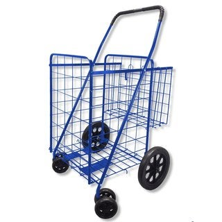 Folding Double Basket Swivel Wheel Jumbo 360 Easy Rotation Shopping Cart With Free Liner and Cargo Net (Blue With Black Liner)