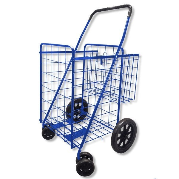 Double Basket Swivel Wheel Jumbo 360 Easy Rotation with Free Liner and Cargo Net Blue with Red Liner Folding Shopping Cart