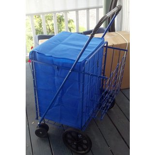 Jumbo 360 Easy-rotating Swivel-wheel Folding Shopping Cart with Blue Liner and Cargo Net