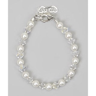 Crystal Dream Elegant Swarovski White Pearls and Clear Crystals Stearling Silver Baby Girl Bracelet