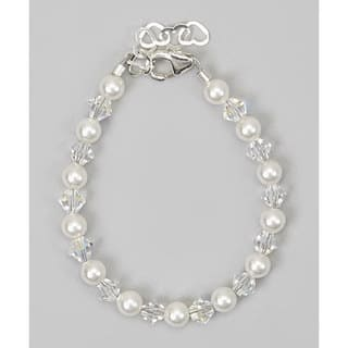 Crystal Dream Elegant Swarovski Element White Pearls and Clear Crystal Stearling Silver Baby Girl Bracelet|https://ak1.ostkcdn.com/images/products/12353019/P19180976.jpg?impolicy=medium