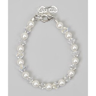 Crystal Dream Elegant Swarovski Element White Pearls and Clear Crystal Stearling Silver Baby Girl Bracelet