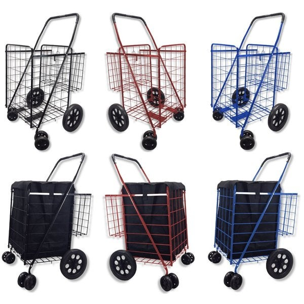 Black Folding Double-basket Shopping Cart with Swivel Wheels and Blue Liner