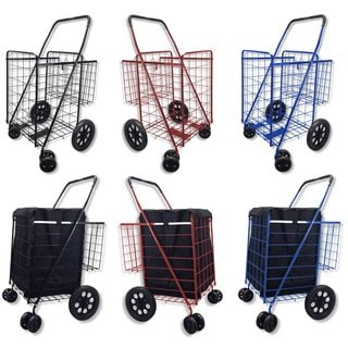 Black Jumbo Double Basket 360-degree Rotation Swivel-wheel Folding Shopping Cart With Free Liner and Cargo Net