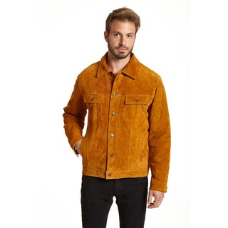 Excelled Men's Big and Tall Suede Shirt Collar Jacket