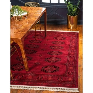 Turkish Bokhara Red Polypropylene Rug (6' x 8' 11)