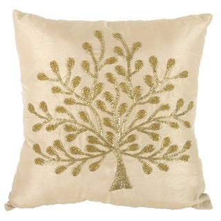 Goldtone Poly Silk 18-inch Square Beaded Pillow