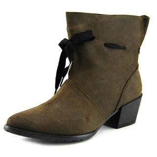 All Black Women's Gathered Tie Bootie-style Suede Boots