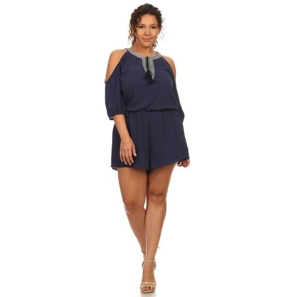 0da93934b36 Shop Hadari Women s Plus Size Cold Shoulder Romper - Free Shipping ...