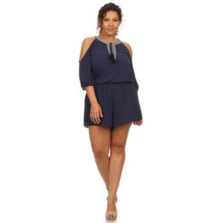 Hadari Women's Plus Size Cold Shoulder Romper