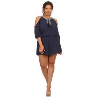 Hadari Women's Plus Size Cold Shoulder Romper https://ak1.ostkcdn.com/images/products/12353052/P19181031.jpg?impolicy=medium