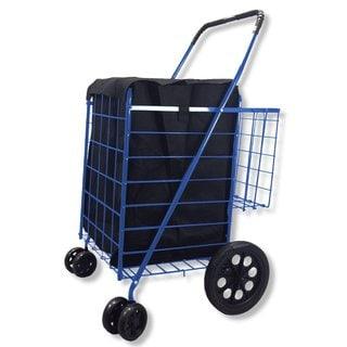 SCF Blue Double Basket Folding Utility Cart With Liner