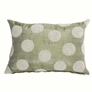 Poly Silk Faux Pearl Embellished 14-inch x 20-inch Pillow