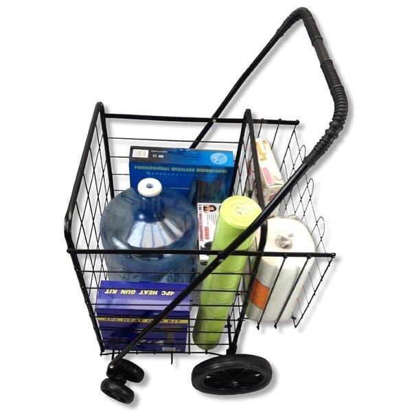 Premium swivel wheels jumbo folding shopping grocery laundry cart with extra basket and free - Collapsible laundry basket with wheels ...