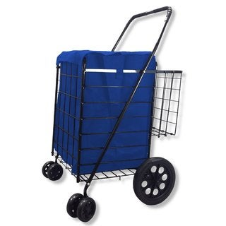 Double-basket Black Folding Utility/Shopping Cart with Bonus Liner