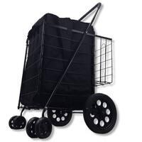 SCF Black Double Basket Folding Utility Cart With Liner