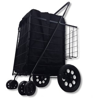 SCF Black Double Basket Folding Utility Cart With Liner