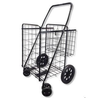 SCF Black Double Basket Rolling Storage Folding Utility Cart Shopping Carrier