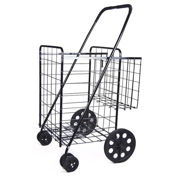 Shop Black Jumbo Folding Double Basket Swivel Wheel