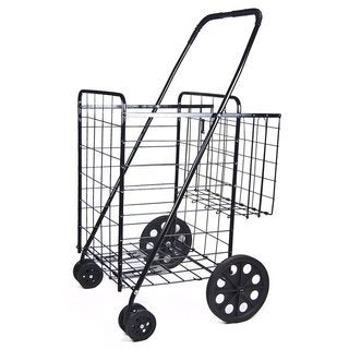 Black Jumbo Folding Double-basket Swivel-wheel Shopping Cart