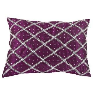 Fucshia Polysilk 14-inch x 20-inch Rhinestone Throw Pillow