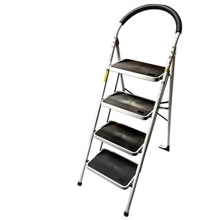 LavoHome 330-pound Capacity Upper Reach Reinforced Metal Folding Four-step Ladder Stool for Household and Kitchen Use