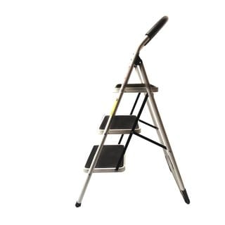 LavoHome 330-pound Easy-storage 3-step Upper Reach Reinforced Metal Folding Stepladder Household Kitchen Stool